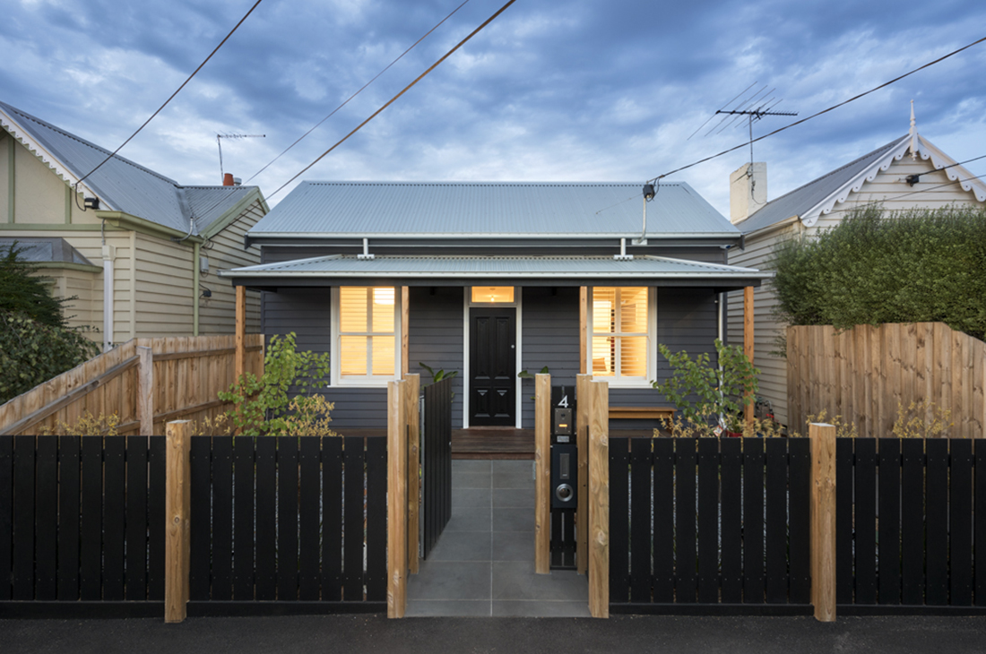 double fronted weatherboard cottage dark grey