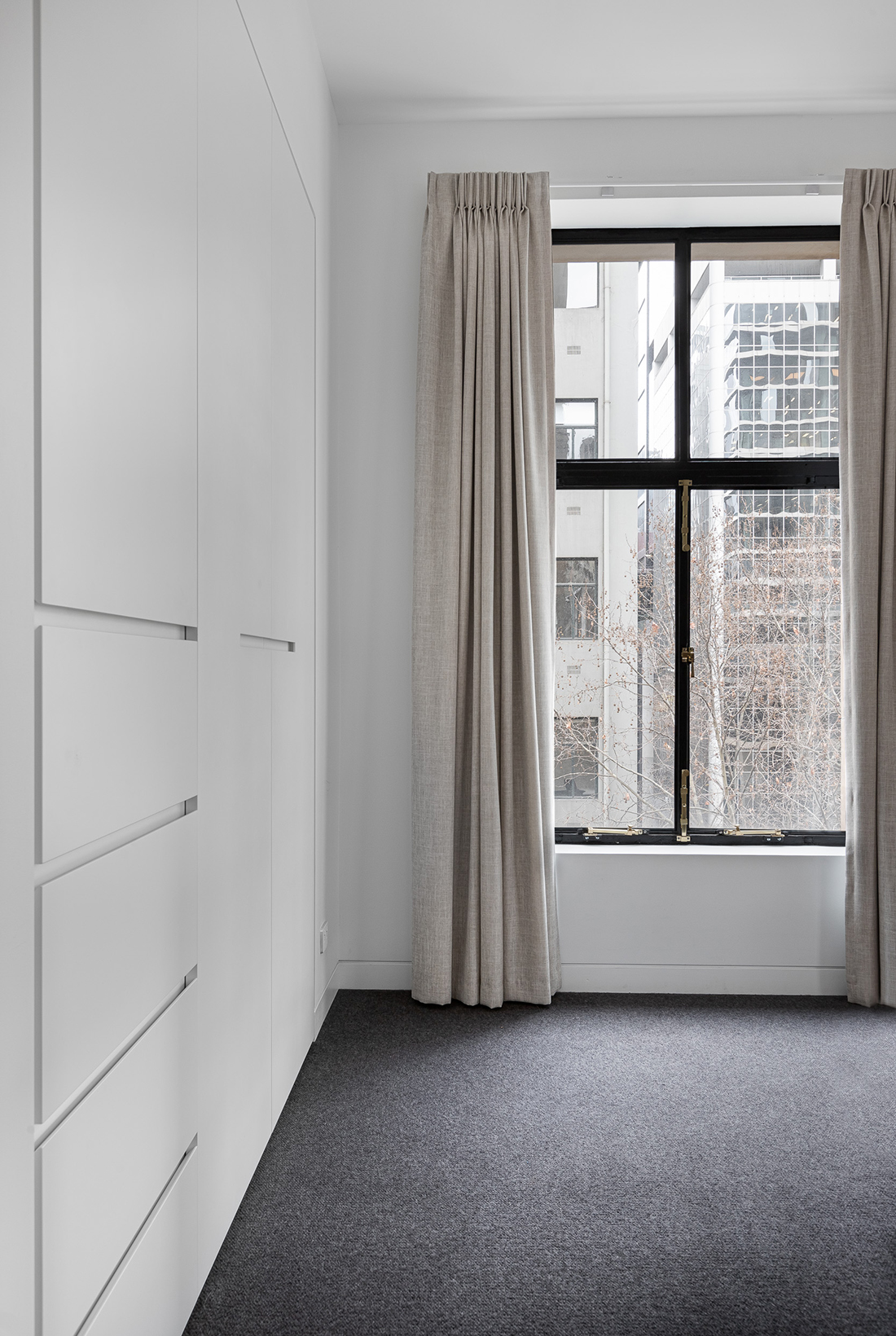 contemporary kitchen within heritage listed building robes view of melbourne