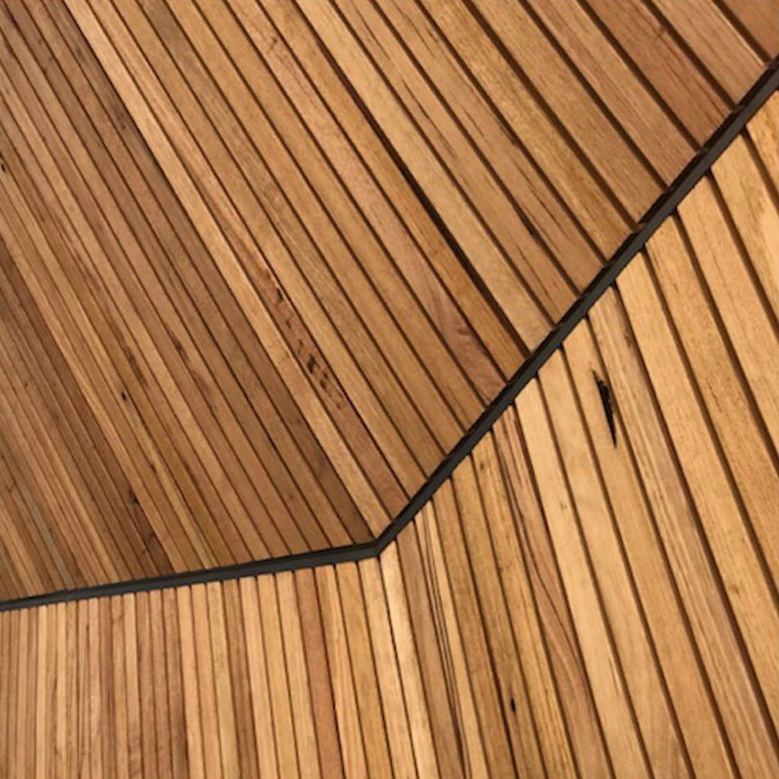 detail of contemporary timber batten cladding